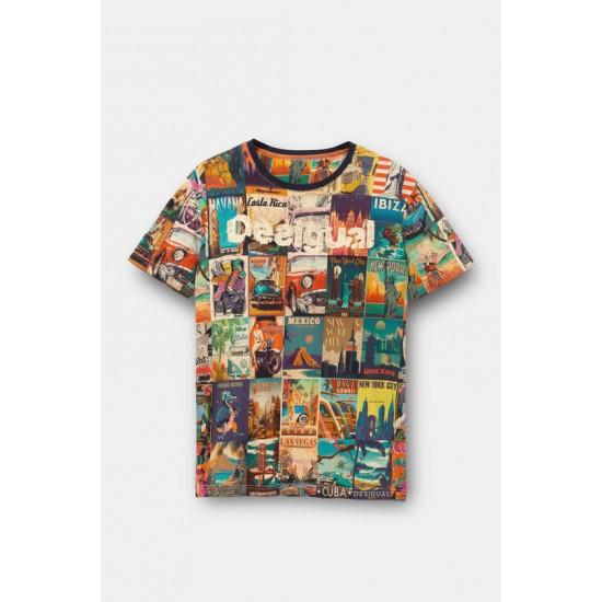 Desigual Soldes T-shirt cartes postales monde