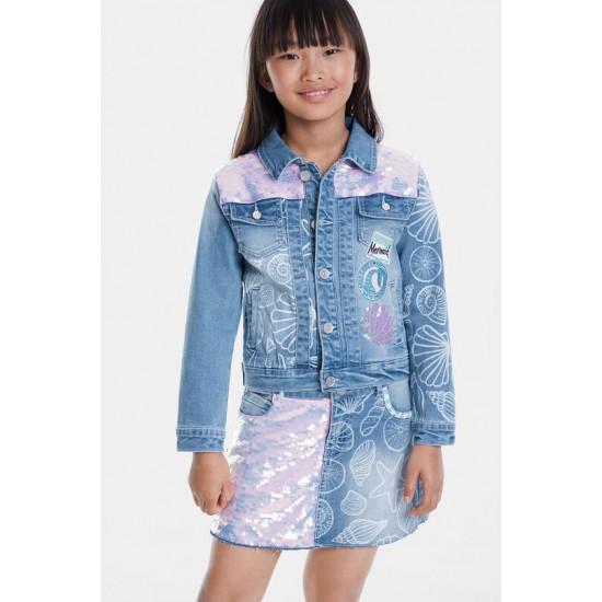 Desigual Soldes Veste en jean sequins