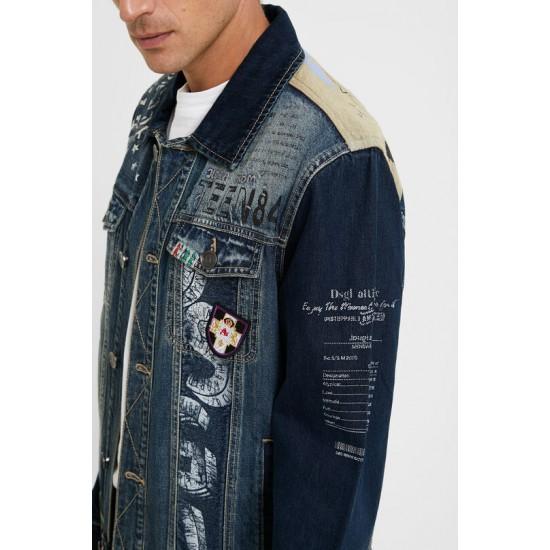 Desigual Soldes Veste en jean patchs