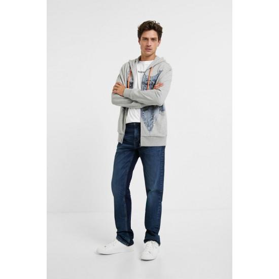 Desigual Soldes Sweat shirt coton molletonné à patch en jean