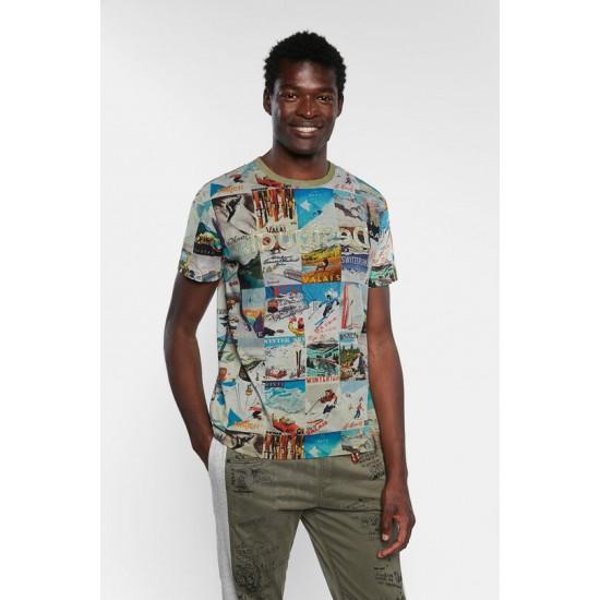Desigual Soldes T-shirt cartes postales 100% coton