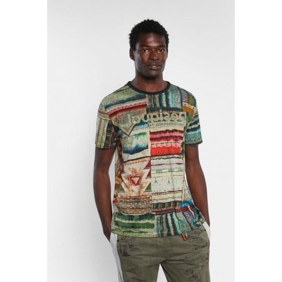 Desigual Soldes T-shirt ethnique patchwork