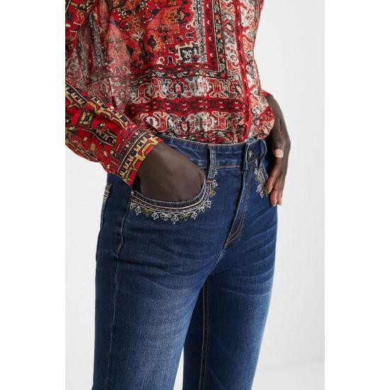 Desigual Soldes Pantalon en jean skinny exotique