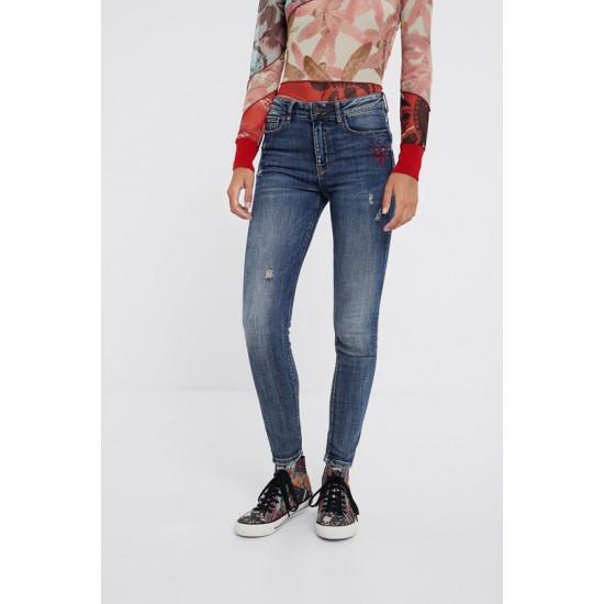 Desigual Soldes Pantalon en jean skinny coeur