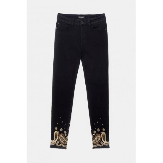 Desigual Soldes Pantalon skinny fit chevilles brodées