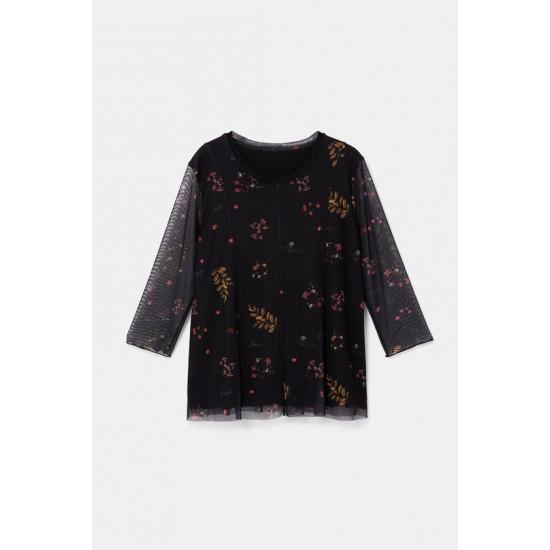 Desigual Soldes T-shirt fleurs manches tulle