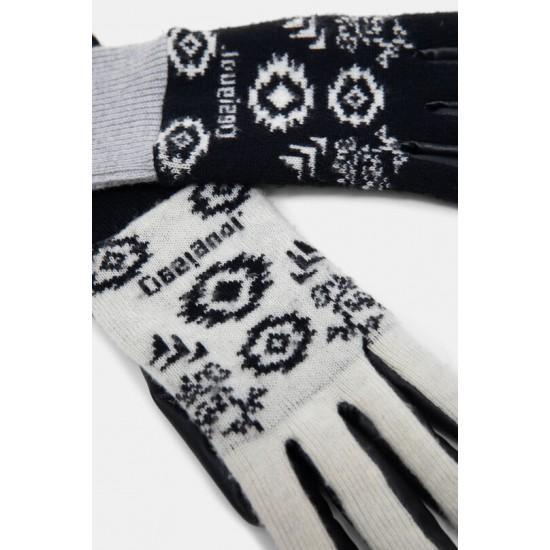 Desigual Soldes Gants mix cuir synthétique et tricot