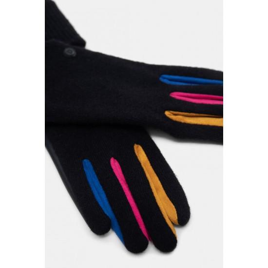 Desigual Soldes Gants mix PU-tricot couleurs