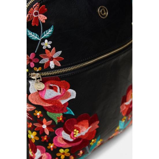 Desigual Soldes Sac à dos en cuir synthétique broderie florale