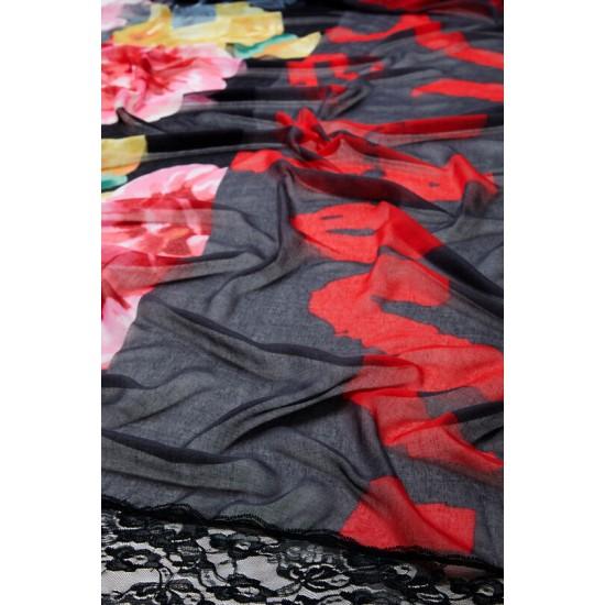 Desigual Soldes Foulard fleuri et dentelle
