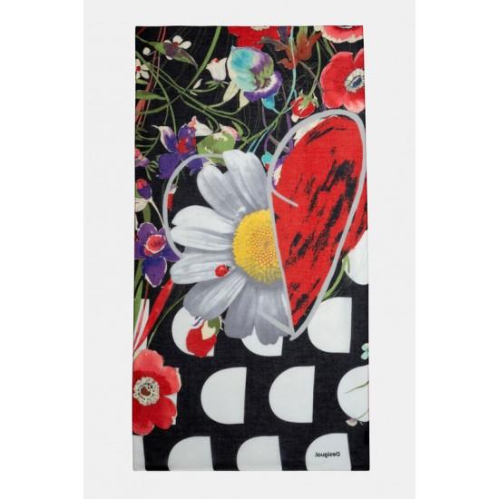 Desigual Soldes Foulard rectangulaire fleurs