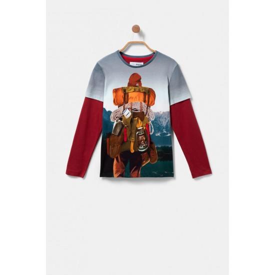Desigual Soldes T-shirt double manche montagnard