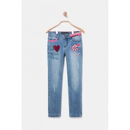 Desigual Soldes Pantalon slim jean paillettes