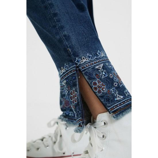 Desigual Soldes Pantalon slim en jean exotique
