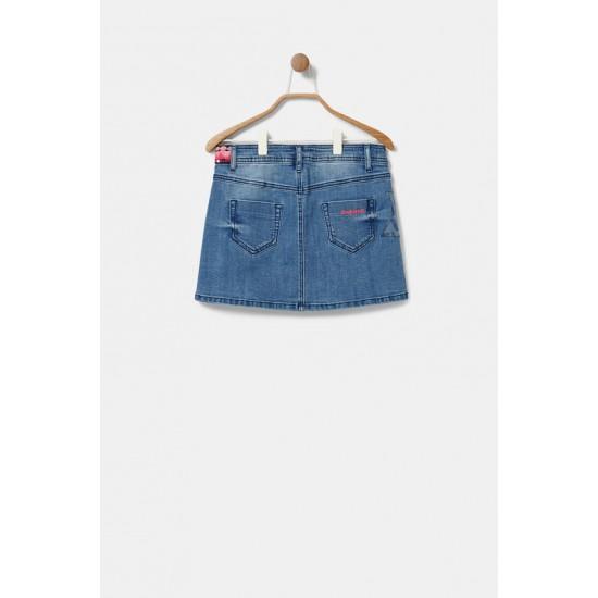 Desigual Soldes Minijupe en jean décorée