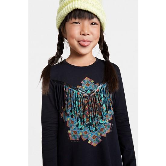 Desigual Soldes T-shirt mandala franges