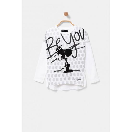Desigual Soldes T-shirt Snoopy paillette réversible