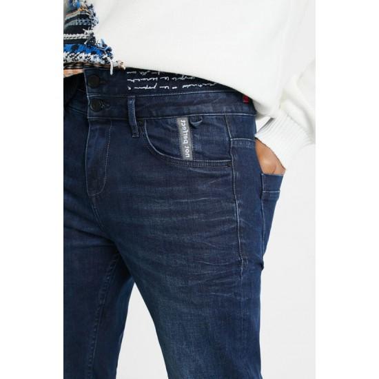 Desigual Soldes Pantalon en jean double ceinture