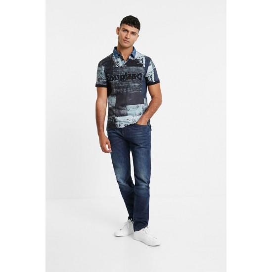 Desigual Soldes Polo coton col en jean