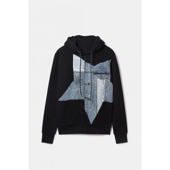 Desigual Soldes Sweat-shirt en coton détail en jean