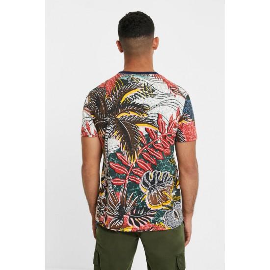 Desigual Soldes T-shirt fleuri col revers