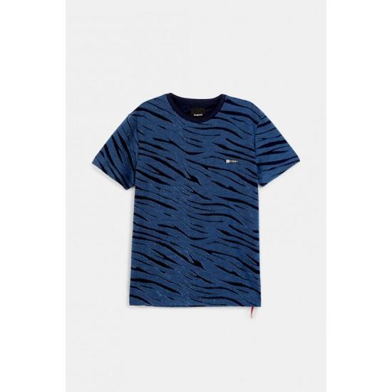 Desigual Soldes T-shirt animal print bleu