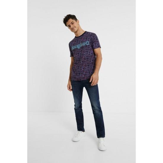 Desigual Soldes T-shirt imprimé logo jean