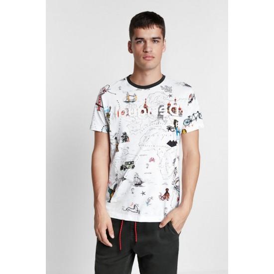 Desigual Soldes T-shirt carte 100% coton