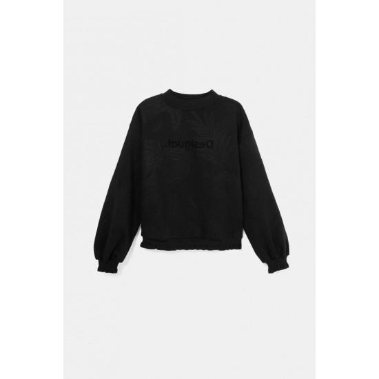 Desigual Soldes Sweat-shirt coton ouaté broderies