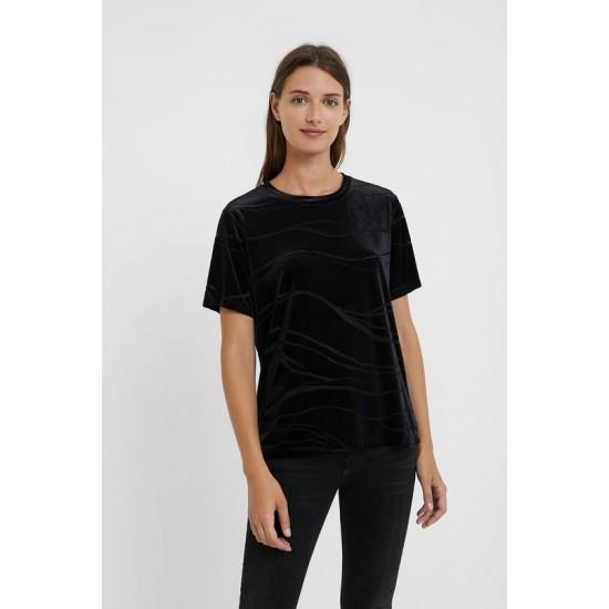 Desigual Soldes T-shirt marbré façon velours