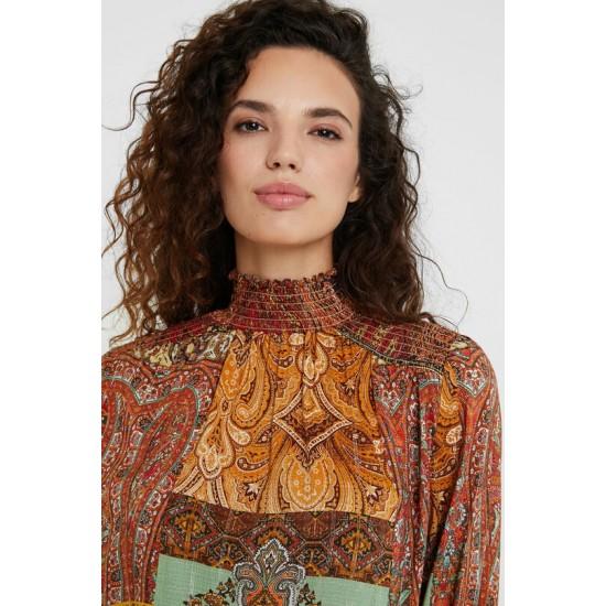Desigual Soldes Blouse imprimé marocain lurex