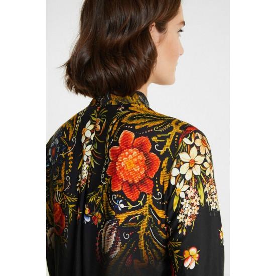 Desigual Soldes Blouse florale soie à ruban