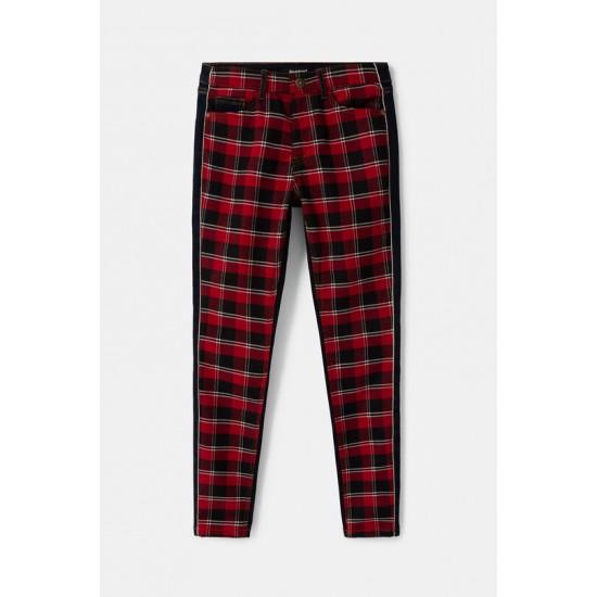 Desigual Soldes Pantalon en jean skinny tartan