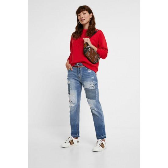 Desigual Soldes Pantalon en jean Boyfriend clous