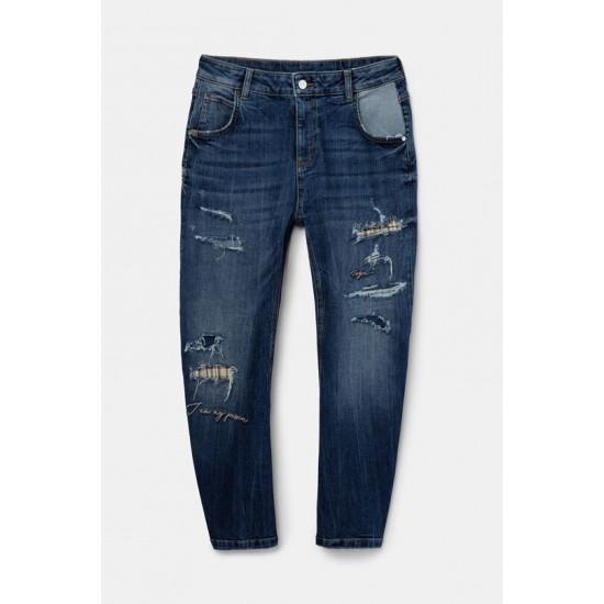 Desigual Soldes Pantalon en jean Boyfriend déchirures