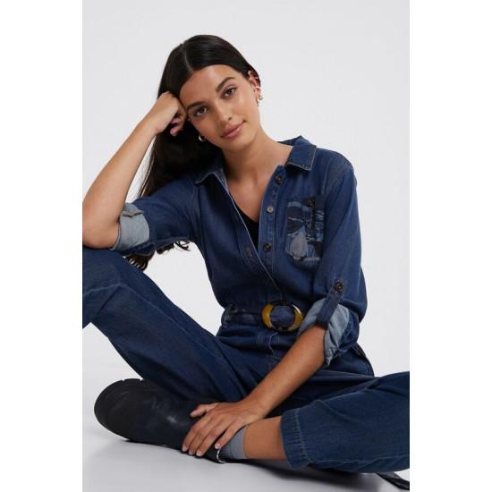 Desigual Soldes Combinaison en jean ceinture