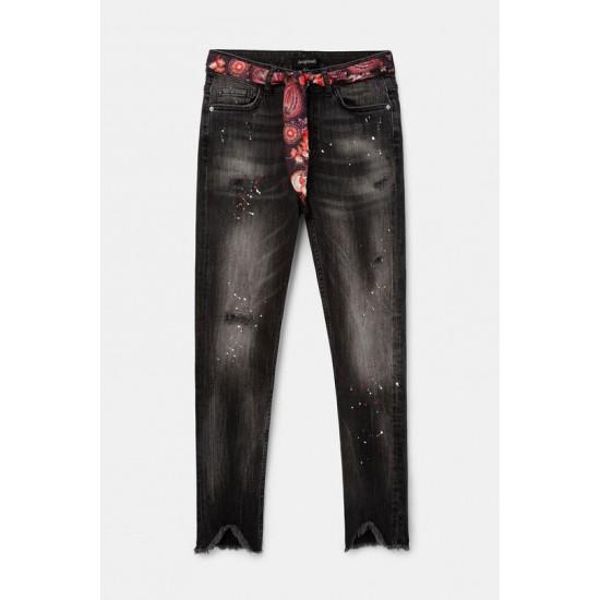 Desigual Soldes Jean skinny ceinture toile