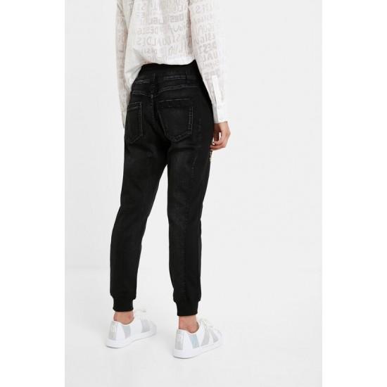Desigual Soldes Pantalon jogger chevilles jean