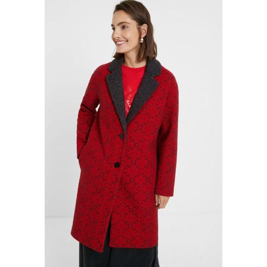 Desigual Soldes Manteau long tricot frises