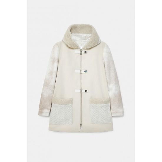 Desigual Soldes Manteau en laine mélangée capuche