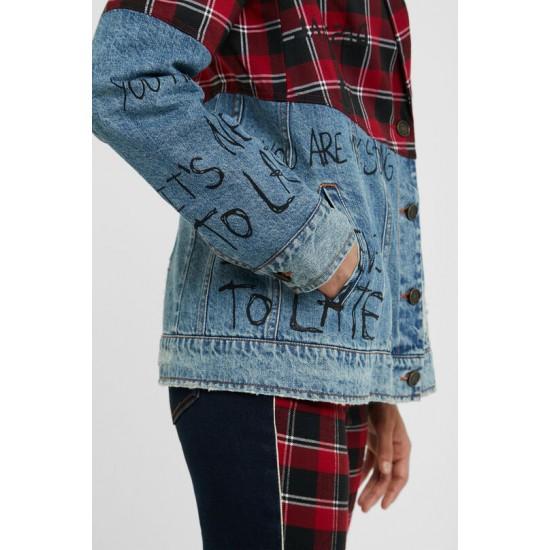 Desigual Soldes Veste en jean blazer tartan