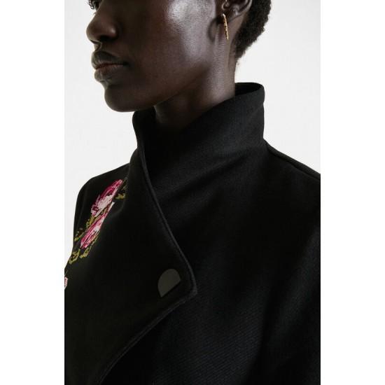 Desigual Soldes Manteau long col montant ceinture