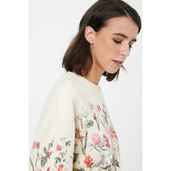 Desigual Soldes Sweat-shirt en coton ouaté fleuri