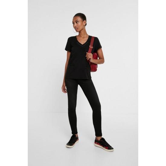 Desigual Soldes T-shirt fleurs 100% coton