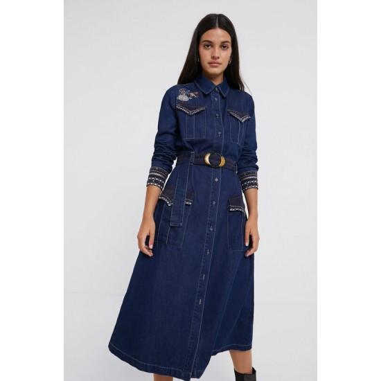 Desigual Soldes Robe en jean chemise