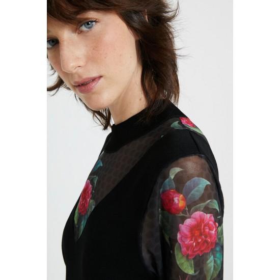 Desigual Soldes Robe résille fleurs