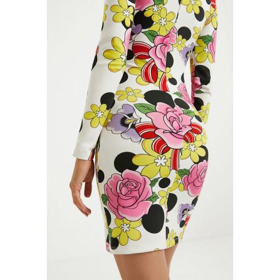 Desigual Soldes Robe courte élastique fleurs