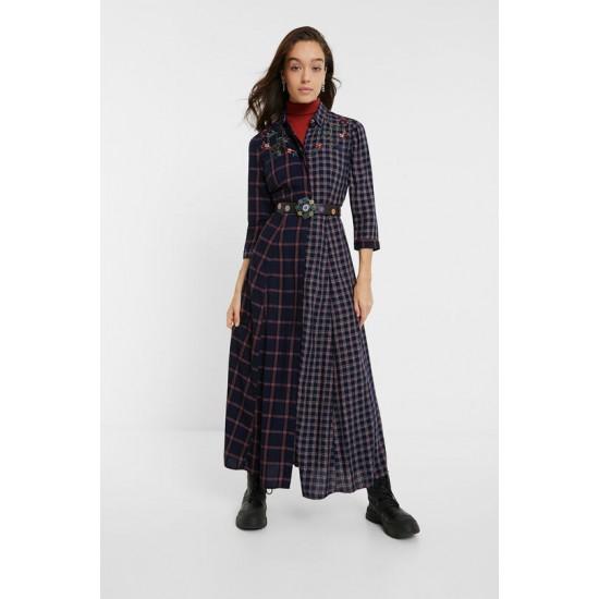 Desigual Soldes Robe chemise longue tartan